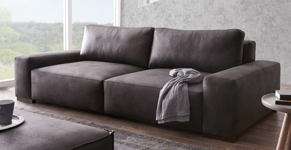 Bigsofa Lanzo Xl Anthrazit 270×125 Cm Vintage Optik Mit Kissen Big Sofa with regard to proportions 1200 X 1000