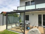 Moderne Terrassenberdachung In Grau Mit Windschutz Zum Schieben pertaining to measurements 1800 X 1350
